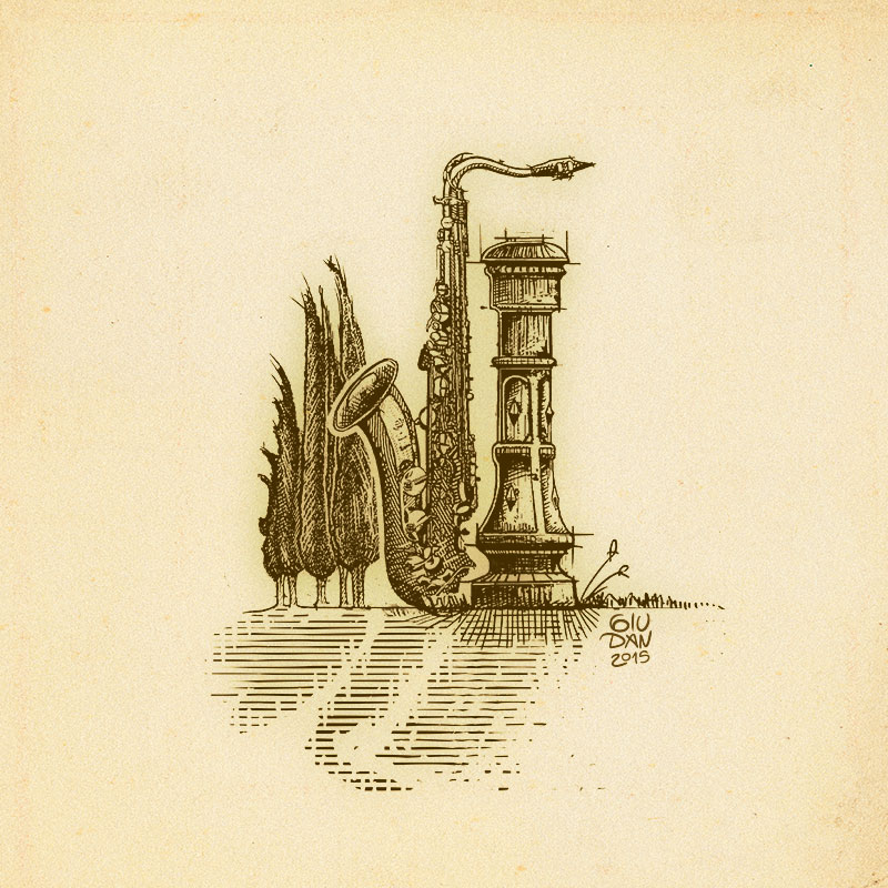 Cypress, fountain and sax engraving incisione